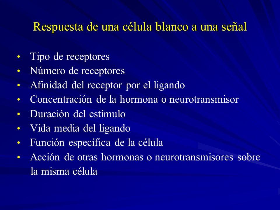 Respuesta de una célula blanco a una señal Tipo de receptores Número de receptores Afinidad del receptor por el ligando Concentración de la hormona o