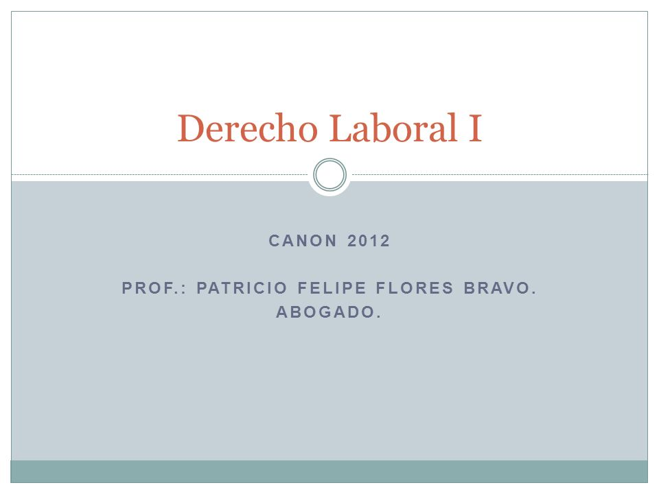 CANON 2012 PROF.: PATRICIO FELIPE FLORES BRAVO. ABOGADO. Derecho Laboral I