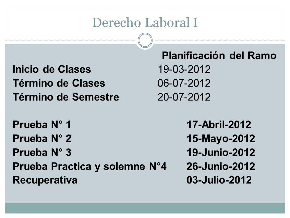 Derecho Laboral I Planificación del Ramo Inicio de Clases19-03-2012 Término de Clases 06-07-2012 Término de Semestre 20-07-2012 Prueba N° 1 17-Abril-2
