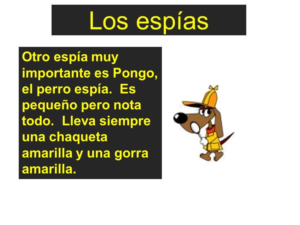 Otro espía muy importante es Pongo, el perro espía. Es pequeño pero nota todo. Lleva siempre una chaqueta amarilla y una gorra amarilla. Los espías