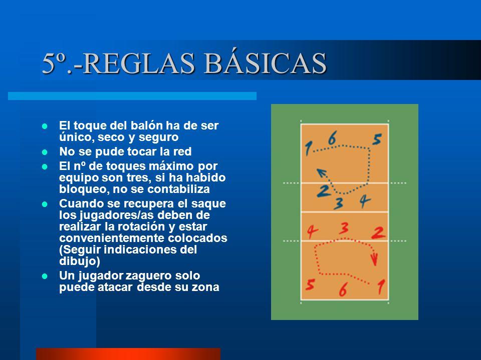 5º.-REGLAS BÁSICAS El toque del balón ha de ser único, seco y seguro No se pude tocar la red El nº de toques máximo por equipo son tres, si ha habido