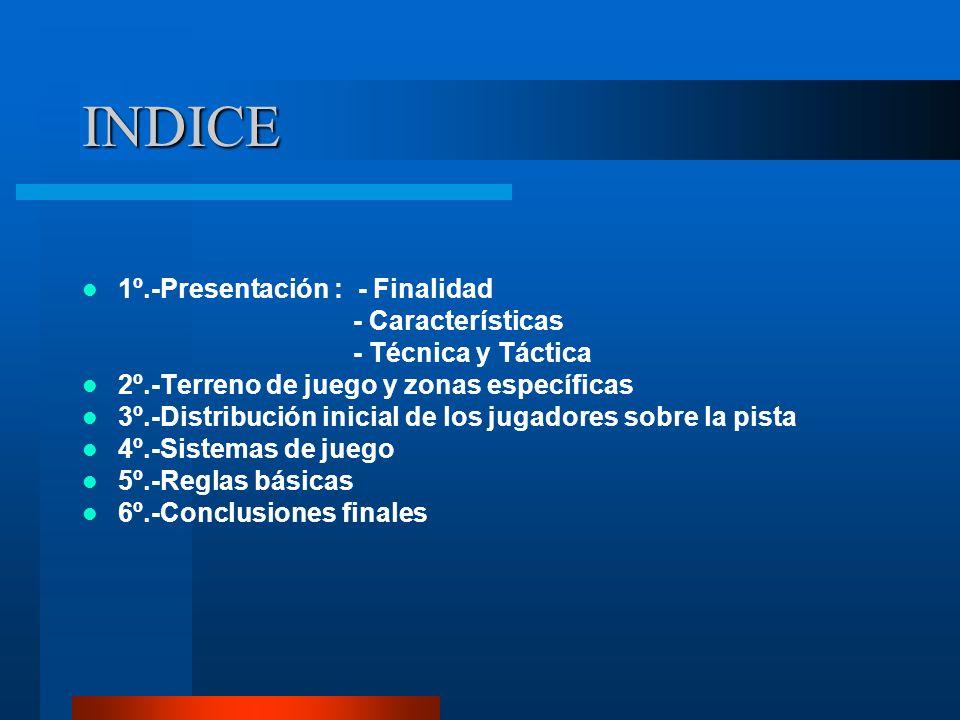 INDICE 1º.-Presentación : - Finalidad - Características - Técnica y Táctica 2º.-Terreno de juego y zonas específicas 3º.-Distribución inicial de los j
