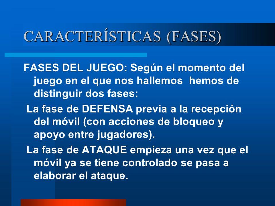 CARACTERÍSTICAS (FASES) FASES DEL JUEGO: Según el momento del juego en el que nos hallemos hemos de distinguir dos fases: La fase de DEFENSA previa a