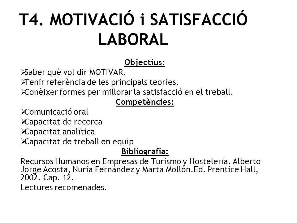 T4. MOTIVACIÓ i SATISFACCIÓ LABORAL Objectius: Saber què vol dir MOTIVAR. Tenir referència de les principals teories. Conèixer formes per millorar la