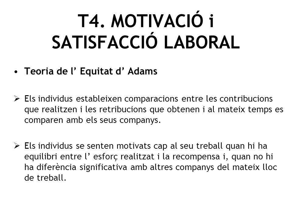 Teoria de l Equitat d Adams Els individus estableixen comparacions entre les contribucions que realitzen i les retribucions que obtenen i al mateix te
