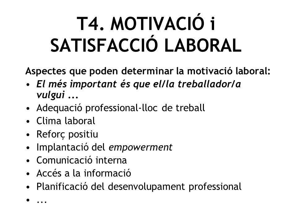 Aspectes que poden determinar la motivació laboral: El més important és que el/la treballador/a vulgui... Adequació professional-lloc de treball Clima
