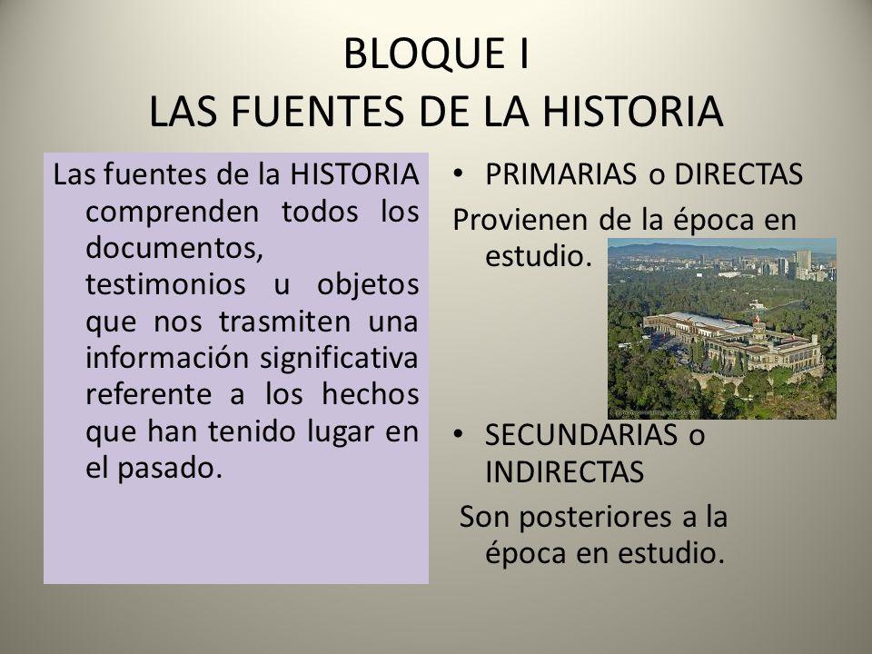 BLOQUE I LAS FUENTES DE LA HISTORIA Las fuentes de la HISTORIA comprenden todos los documentos, testimonios u objetos que nos trasmiten una informació