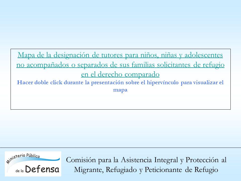 Comisión para la Asistencia Integral y Protección al Migrante, Refugiado y Peticionante de Refugio Mapa de la designación de tutores para niños, niñas