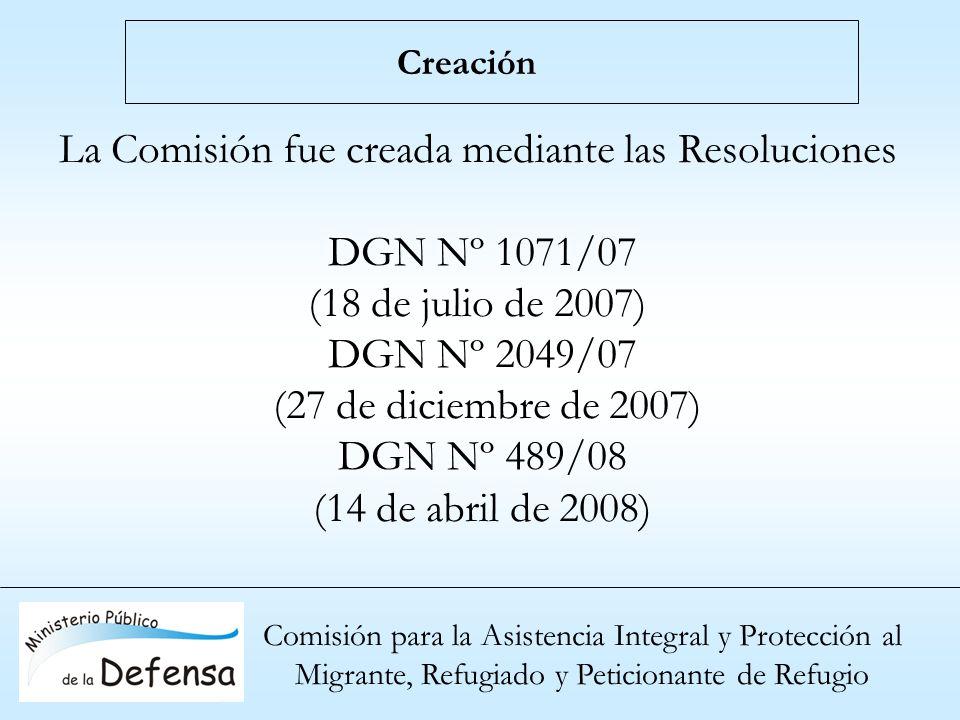 Comisión para la Asistencia Integral y Protección al Migrante, Refugiado y Peticionante de Refugio Creación La Comisión fue creada mediante las Resolu