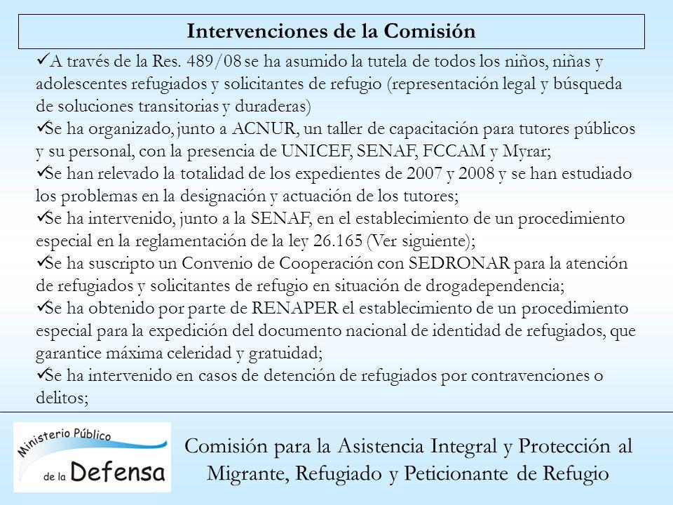 Comisión para la Asistencia Integral y Protección al Migrante, Refugiado y Peticionante de Refugio Intervenciones de la Comisión A través de la Res. 4