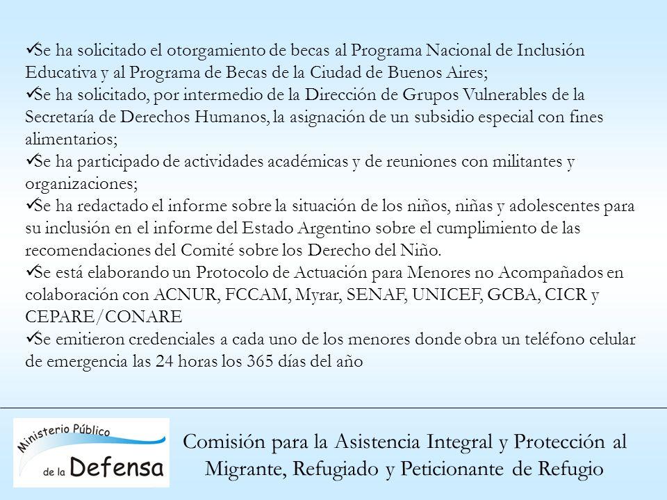 Comisión para la Asistencia Integral y Protección al Migrante, Refugiado y Peticionante de Refugio Se ha solicitado el otorgamiento de becas al Progra