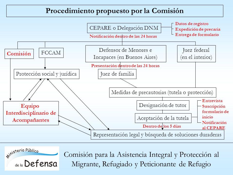 Comisión para la Asistencia Integral y Protección al Migrante, Refugiado y Peticionante de Refugio Procedimiento propuesto por la Comisión CEPARE o De