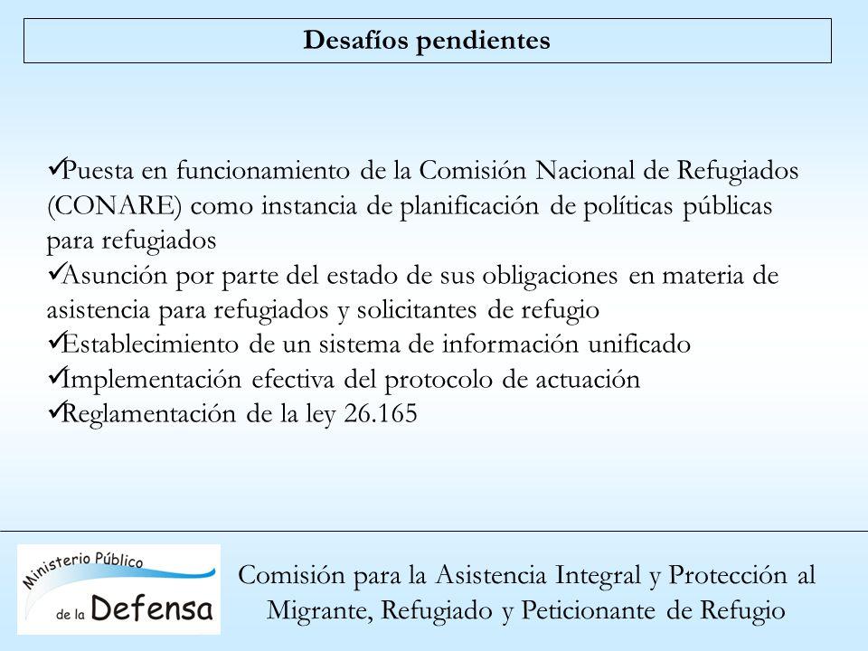 Comisión para la Asistencia Integral y Protección al Migrante, Refugiado y Peticionante de Refugio Desafíos pendientes Puesta en funcionamiento de la