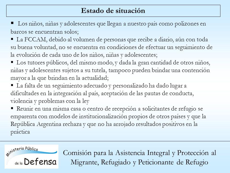Comisión para la Asistencia Integral y Protección al Migrante, Refugiado y Peticionante de Refugio Estado de situación Los niños, niñas y adolescentes