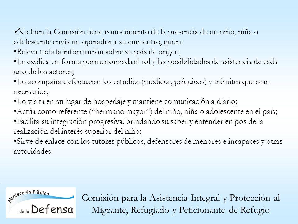 Comisión para la Asistencia Integral y Protección al Migrante, Refugiado y Peticionante de Refugio No bien la Comisión tiene conocimiento de la presen