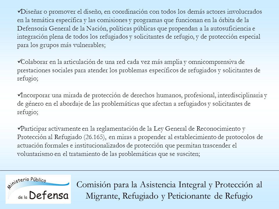 Comisión para la Asistencia Integral y Protección al Migrante, Refugiado y Peticionante de Refugio Diseñar o promover el diseño, en coordinación con t