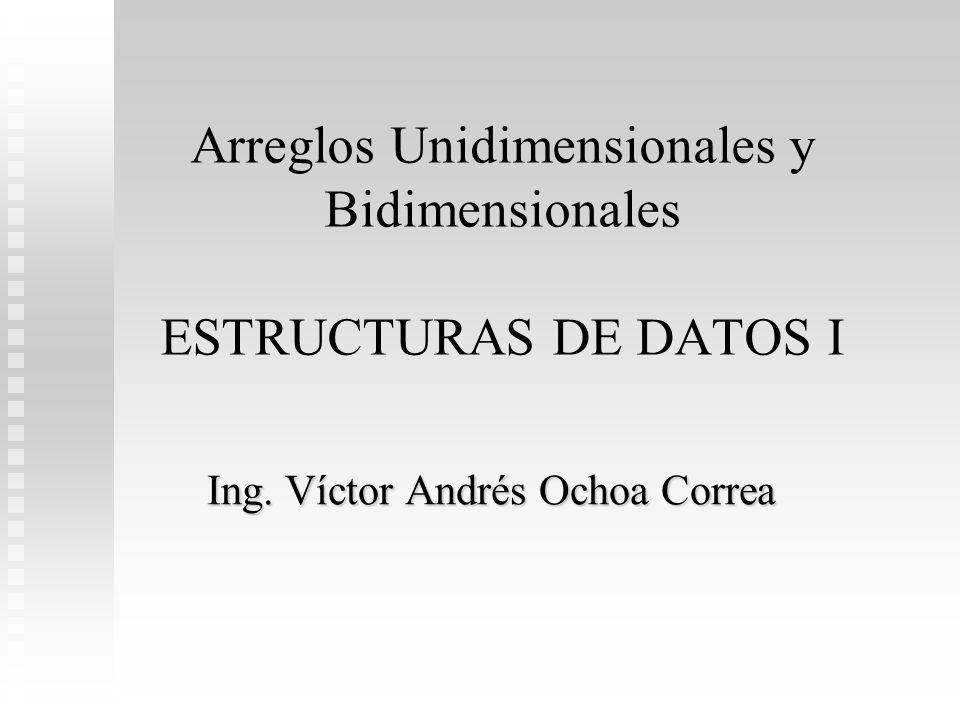 Arreglos Unidimensionales y Bidimensionales ESTRUCTURAS DE DATOS I Ing. Víctor Andrés Ochoa Correa
