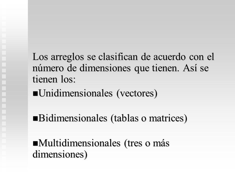 Los arreglos se clasifican de acuerdo con el número de dimensiones que tienen. Así se tienen los: Unidimensionales (vectores) Unidimensionales (vector