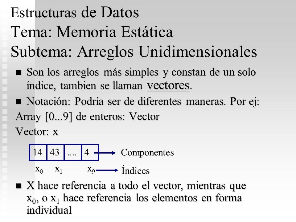 Estructuras de Datos Tema: Memoria Estática Subtema: Arreglos Unidimensionales Son los arreglos más simples y constan de un solo índice, tambien se ll
