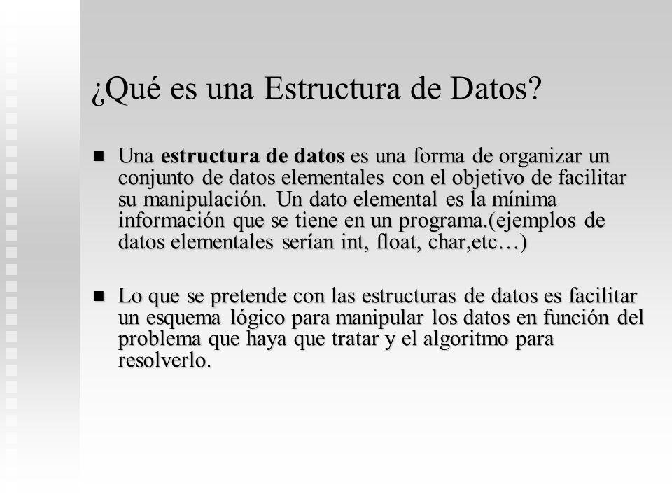 ¿Qué es una Estructura de Datos? Una estructura de datos es una forma de organizar un conjunto de datos elementales con el objetivo de facilitar su ma