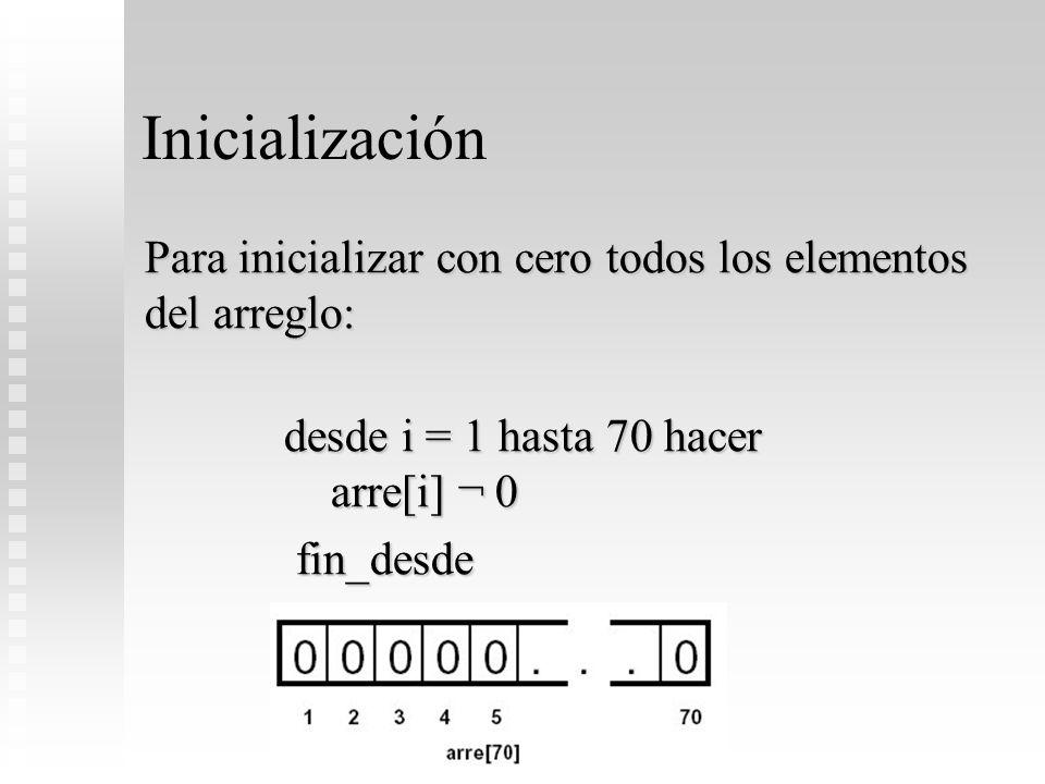 Inicialización Para inicializar con cero todos los elementos del arreglo: desde i = 1 hasta 70 hacer arre[i] ¬ 0 desde i = 1 hasta 70 hacer arre[i] ¬