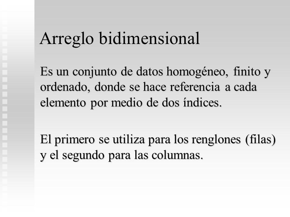Arreglo bidimensional Es un conjunto de datos homogéneo, finito y ordenado, donde se hace referencia a cada elemento por medio de dos índices. El prim