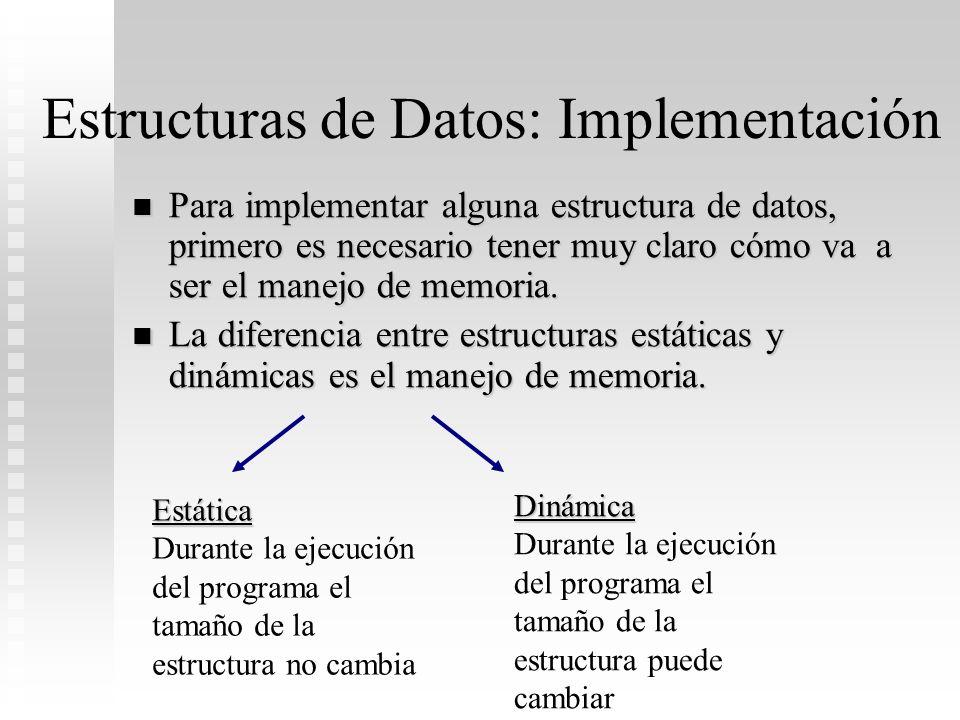 Estructuras de Datos: Implementación Para implementar alguna estructura de datos, primero es necesario tener muy claro cómo va a ser el manejo de memo