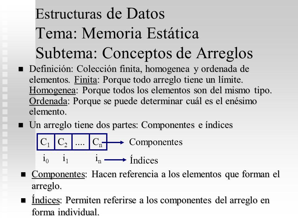 Estructuras de Datos Tema: Memoria Estática Subtema: Conceptos de Arreglos Definición: Colección finita, homogenea y ordenada de elementos. Finita: Po