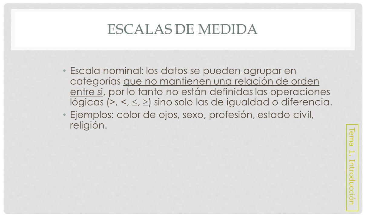 ESCALAS DE MEDIDA Escala ordinal: existe un cierto orden o jerarquía entre las categorías (>, <,, ).