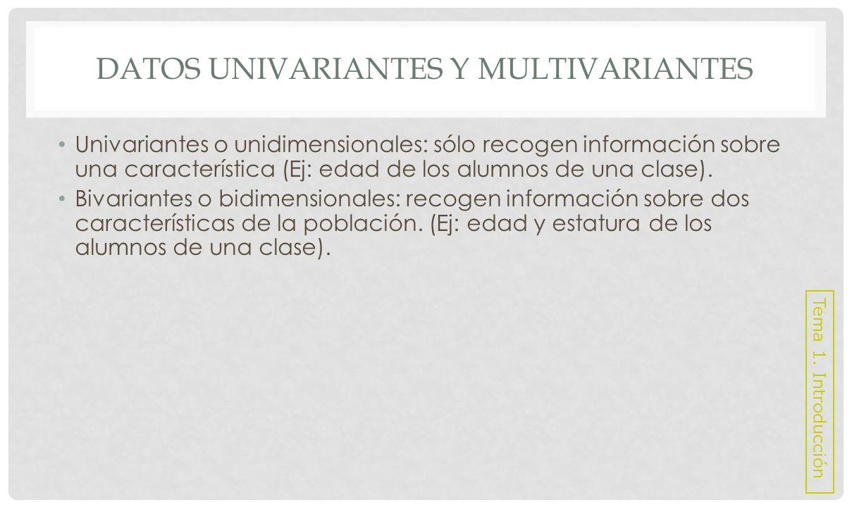 DATOS UNIVARIANTES Y MULTIVARIANTES Multivariantes o pluridimensionales: recogen información sobre tres ó más características.