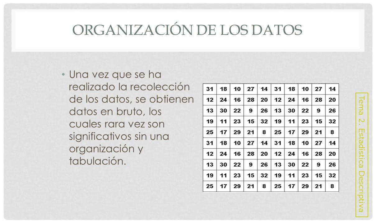 ORGANIZACIÓN DE LOS DATOS Formas de organizar los datos: Un arreglo: es la forma más sencilla de organizar los datos en bruto, consiste en colocar las observaciones en orden según su magnitud: ascendente o descendente.