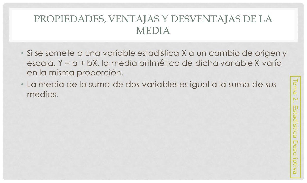 PROPIEDADES, VENTAJAS Y DESVENTAJAS DE LA MEDIA Ventajas: Emplea en su cálculo toda la información disponible.