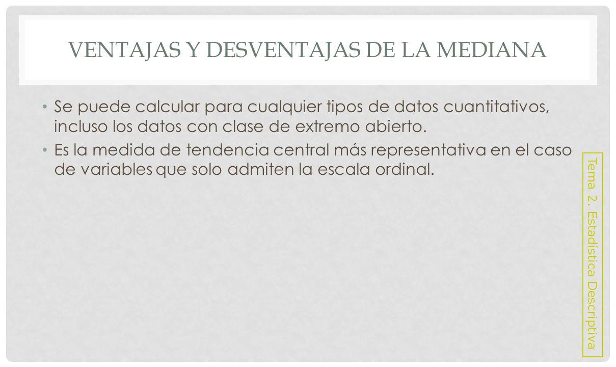 VENTAJAS Y DESVENTAJAS DE LA MEDIANA Desventajas: No utiliza en su cálculo toda la información disponible.