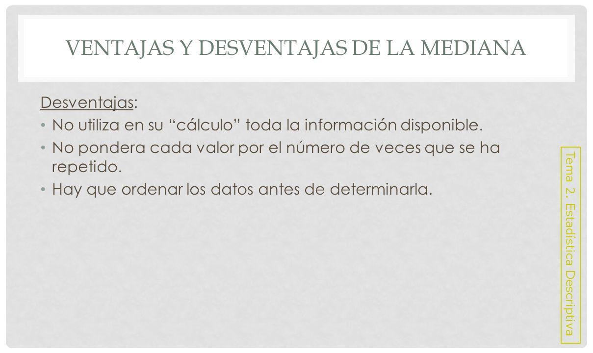 VENTAJAS Y DESVENTAJAS DE LA MODA Ventajas: No requiere cálculos.