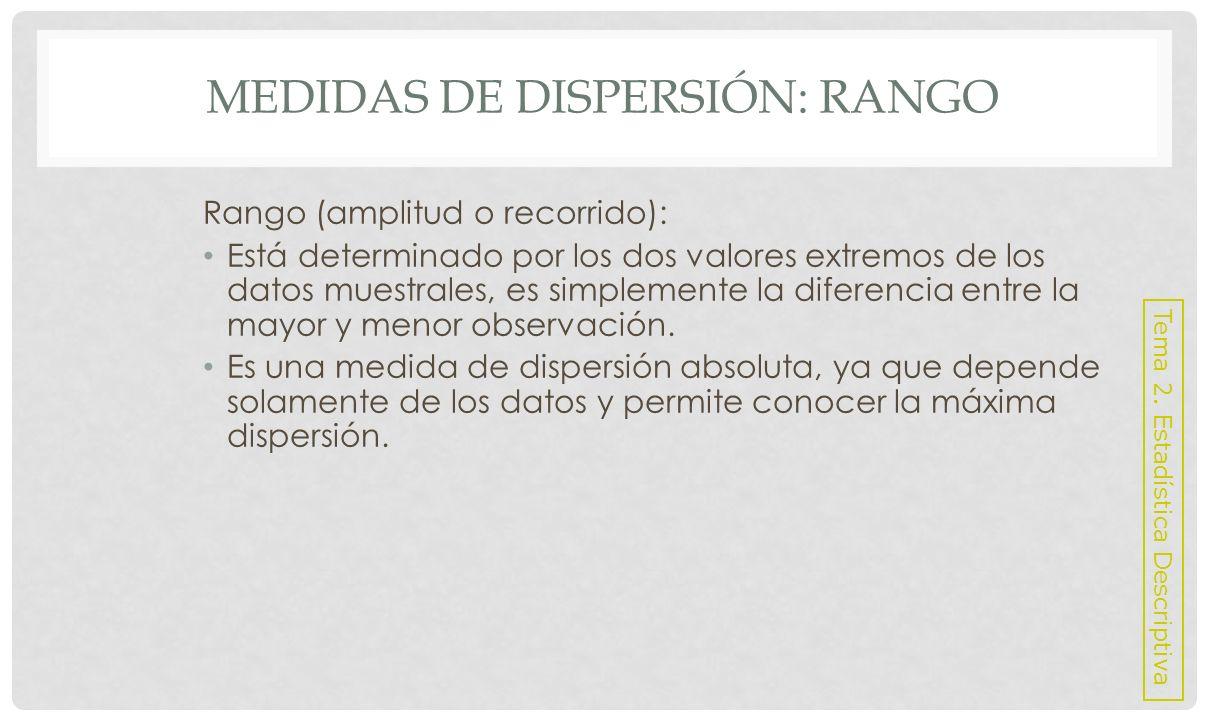MEDIDAS DE DISPERSIÓN: RANGO Casi no se emplea debido a que depende únicamente de dos valores.