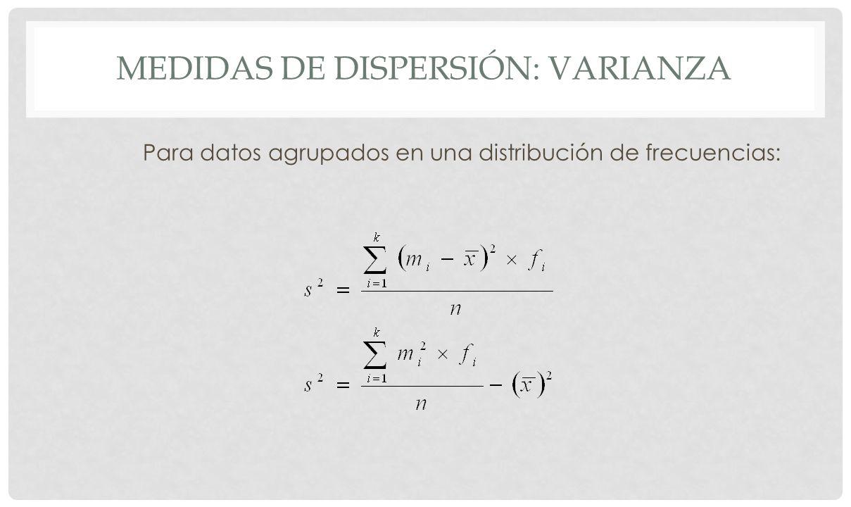 MEDIDAS DE DISPERSIÓN: DESVIACIÓN TÍPICA Es la raíz cuadrada de la varianza.