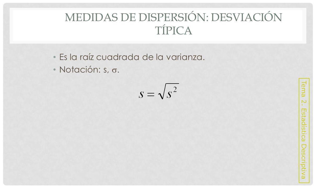 MEDIDAS DE DISPERSIÓN: COEFICIENTE DE VARIACIÓN Es una medida de dispersión relativa que permite comparar el nivel de dispersión de dos muestras de variables estadísticas diferentes.