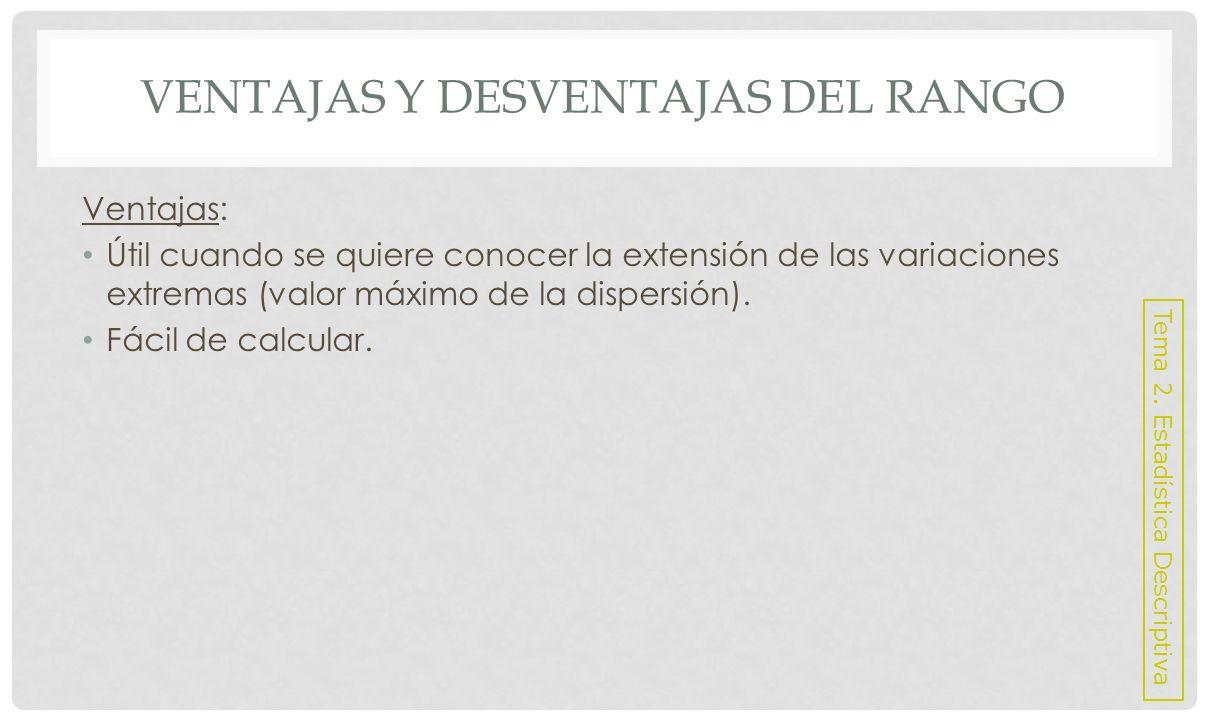 VENTAJAS Y DESVENTAJAS DEL RANGO Desventajas: No es una MD con respecto al centro de la distribución.