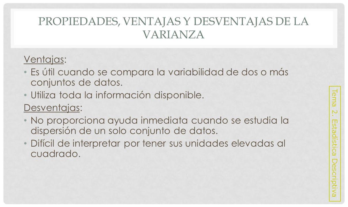 VENTAJAS Y DESVENTAJAS DE LA DESVIACIÓN TÍPICA Ventajas: Esta expresada en las mismas unidades que la variable en estudio.
