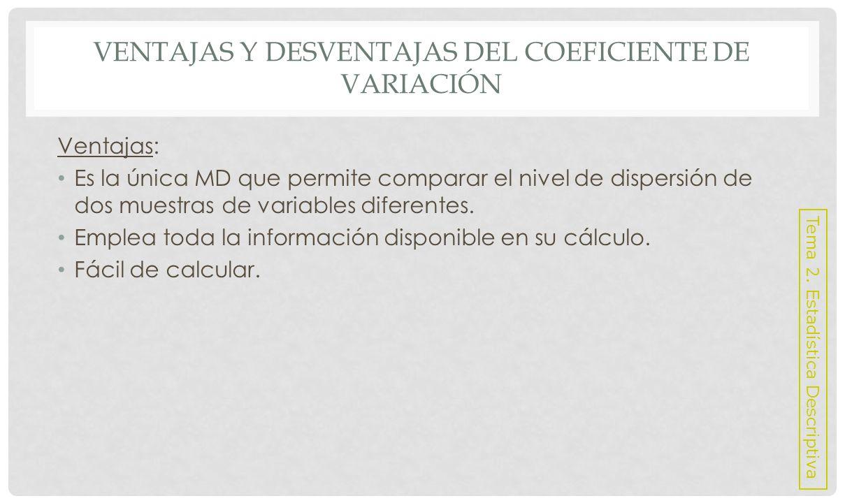 VENTAJAS Y DESVENTAJAS DEL COEFICIENTE DE VARIACIÓN Desventaja: No es una MD con respecto al centro de la distribución de los datos.