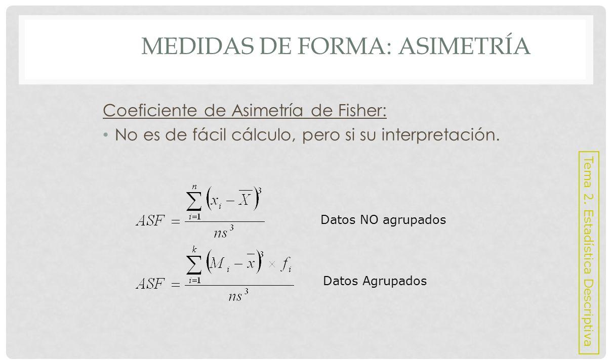 MEDIDAS DE FORMA: ASIMETRÍA o Interpretación: ASF = 0, Simétrica > 0, Asimétrica Positiva < 0, Asimétrica Negativa Tema 2.