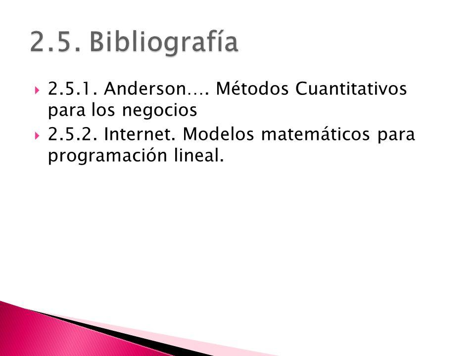 2.5.1. Anderson…. Métodos Cuantitativos para los negocios 2.5.2. Internet. Modelos matemáticos para programación lineal.