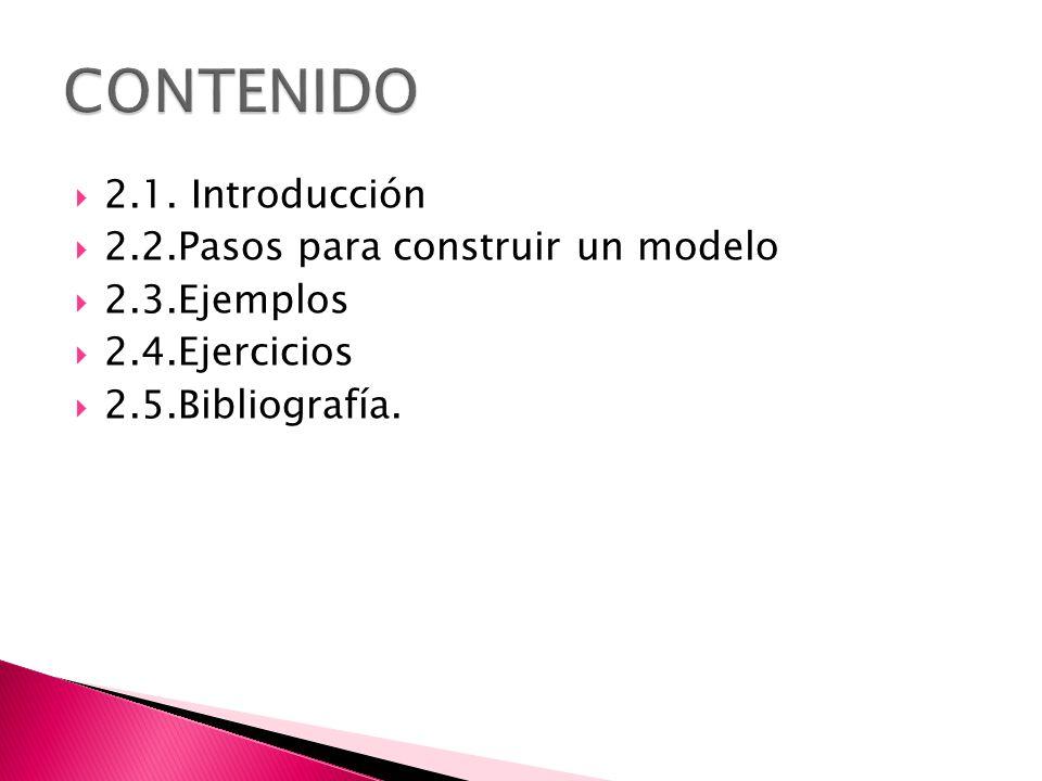 2.1. Introducción 2.2.Pasos para construir un modelo 2.3.Ejemplos 2.4.Ejercicios 2.5.Bibliografía.