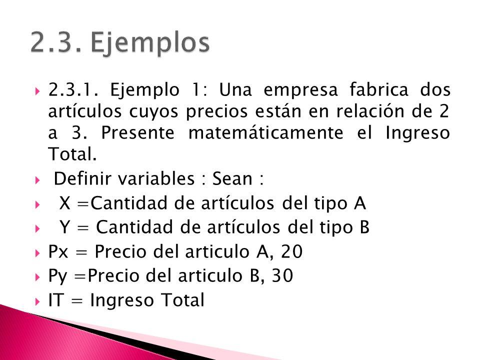 2.3.1. Ejemplo 1: Una empresa fabrica dos artículos cuyos precios están en relación de 2 a 3. Presente matemáticamente el Ingreso Total. Definir varia