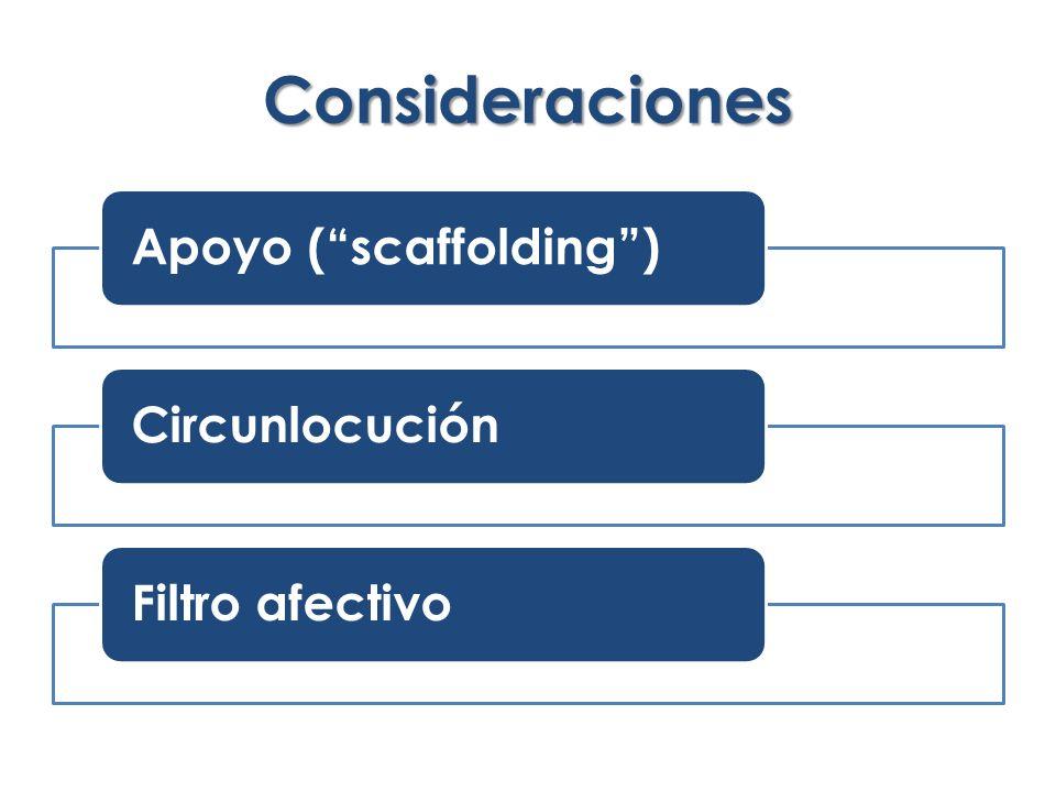 Consideraciones Apoyo (scaffolding)CircunlocuciónFiltro afectivo