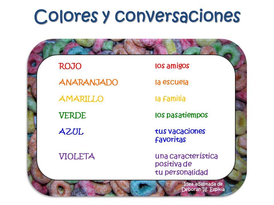 Colores y conversaciones ROJOlos amigos ANARANJADOla escuela AMARILLOla familia VERDElos pasatiempos AZUL tus vacaciones favoritas VIOLETAuna caracter