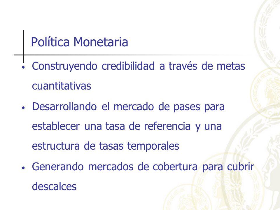 Política Monetaria Construyendo credibilidad a través de metas cuantitativas Desarrollando el mercado de pases para establecer una tasa de referencia