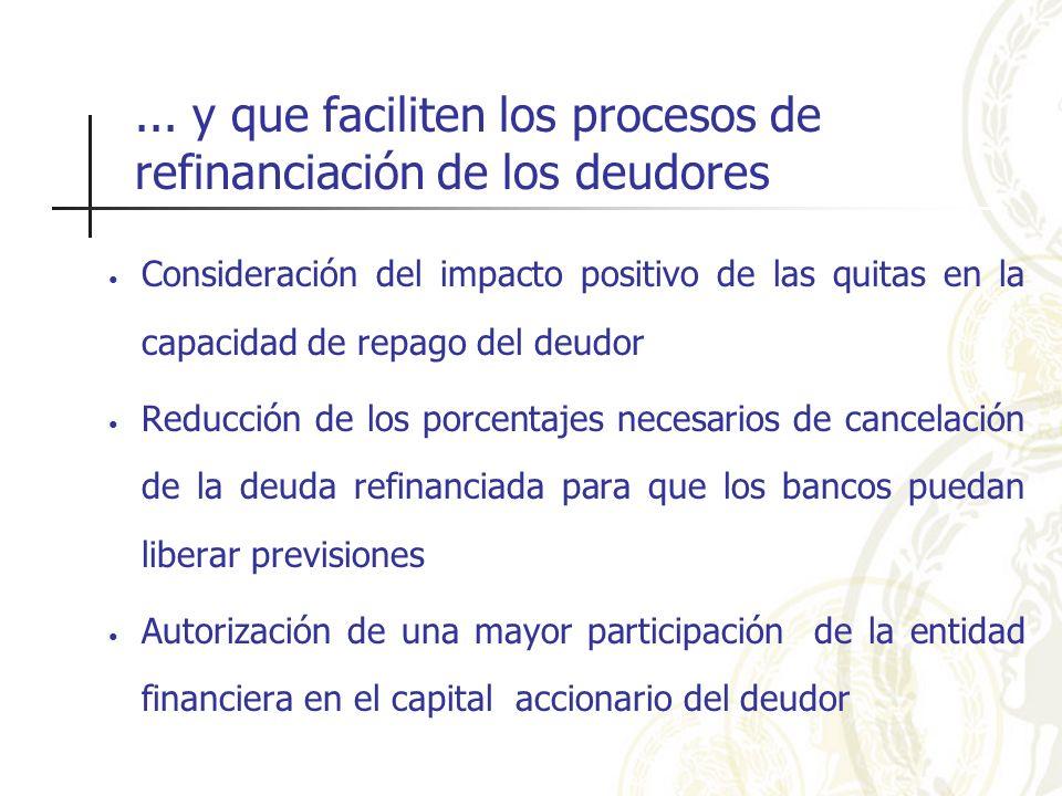 ... y que faciliten los procesos de refinanciación de los deudores Consideración del impacto positivo de las quitas en la capacidad de repago del deud