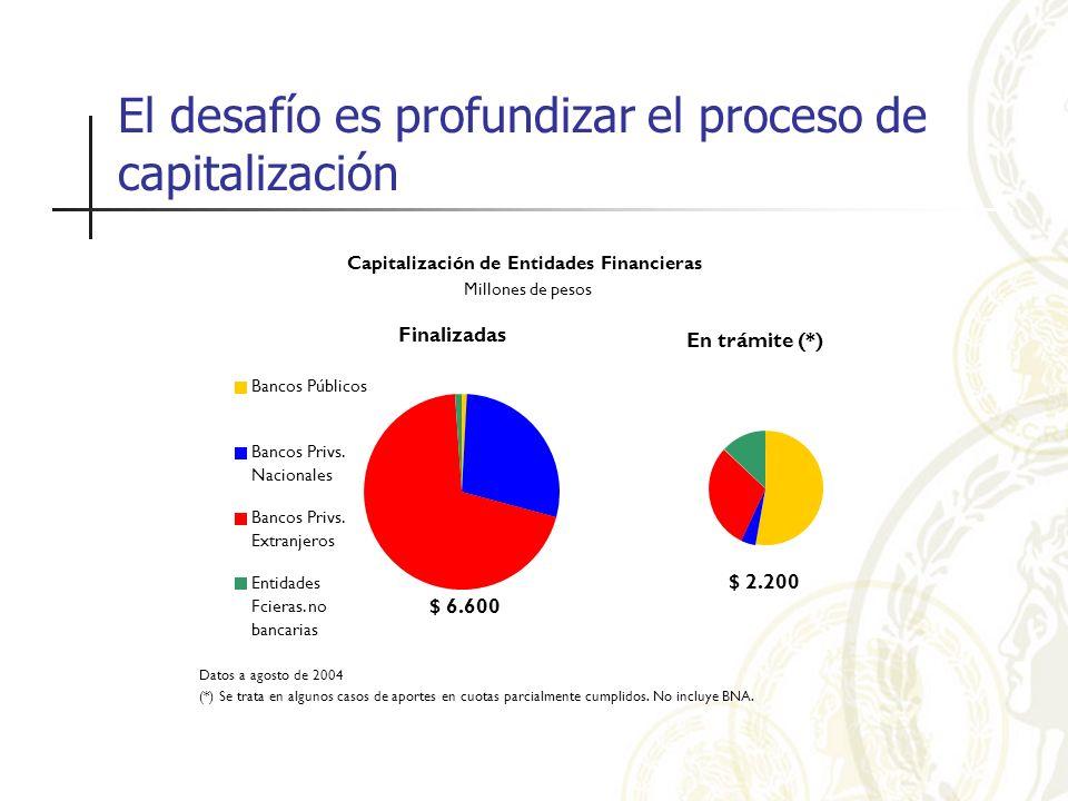 Datos a agosto de 2004 (*) Se trata en algunos casos de aportes en cuotas parcialmente cumplidos. No incluye BNA. Capitalización de Entidades Financie
