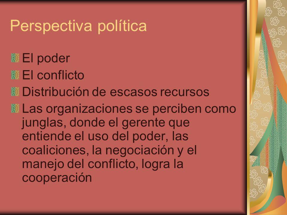 Perspectiva política El poder El conflicto Distribución de escasos recursos Las organizaciones se perciben como junglas, donde el gerente que entiende